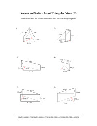 Volume and Surface Area of Triangular Prisms (C