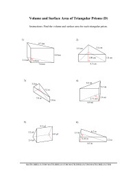 Volume and Surface Area of Triangular Prisms (D