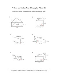 Volume and Surface Area of Triangular Prisms (E