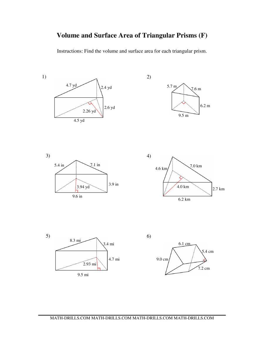 Volume and Surface Area of Triangular Prisms (F)