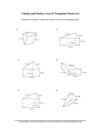 Volume and Surface Area of Triangular Prisms (G
