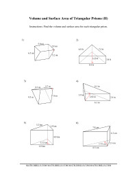 Volume and Surface Area of Triangular Prisms (H