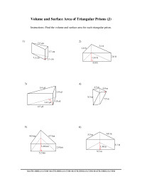 Volume and Surface Area of Triangular Prisms (J