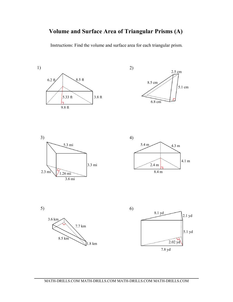 Volume and Surface Area of Triangular Prisms (All)