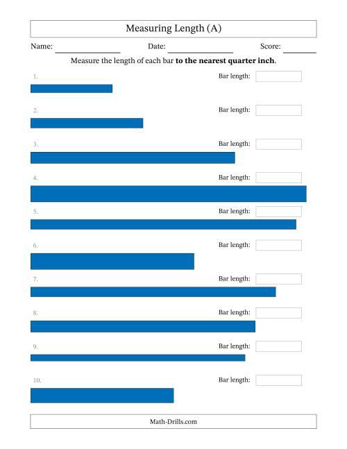 medium resolution of Measuring Length to the Nearest Quarter Inch (A)