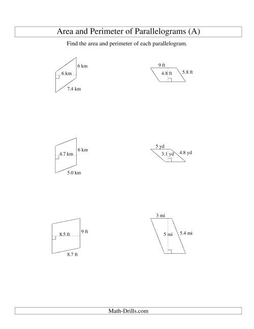 hight resolution of Area and Perimeter of Parallelograms (whole number base; range 1-9) (A)