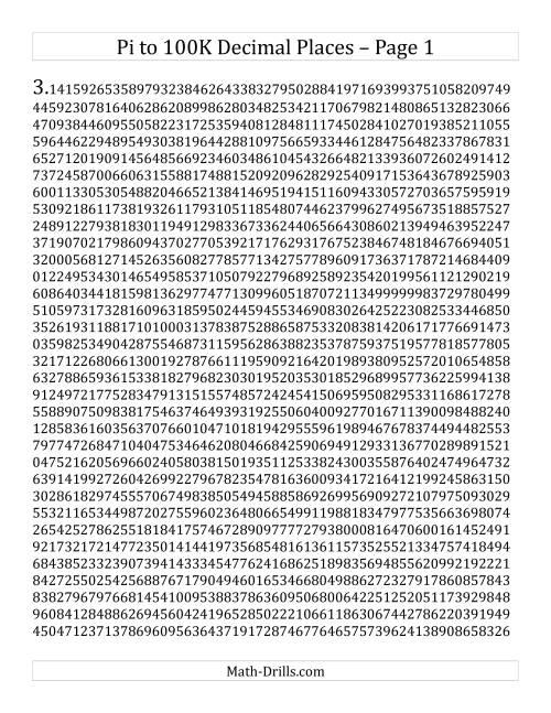 Pi To 100k Decim L Pl Ces