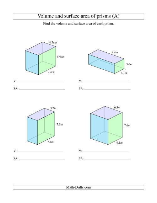 medium resolution of Volume and Surface Area of Rectangular Prisms with Decimal Numbers (A)