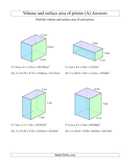 small resolution of Volume and Surface Area of Rectangular Prisms with Decimal Numbers (A)