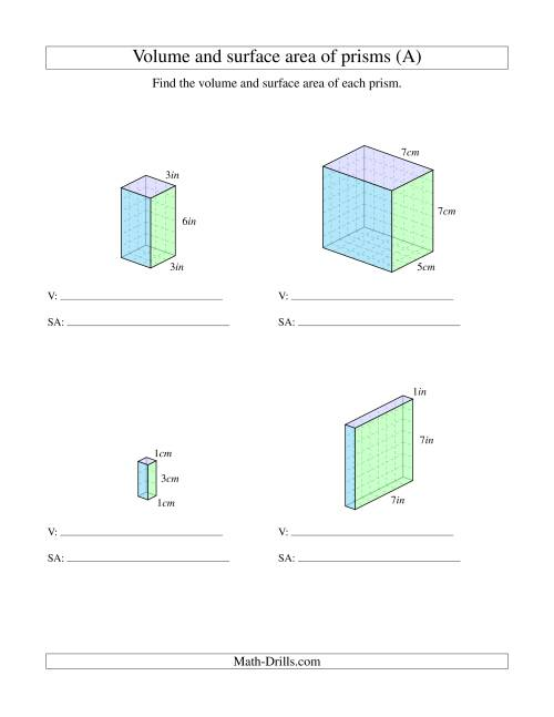 medium resolution of Volume and Surface Area of Rectangular Prisms with Whole Numbers (A)