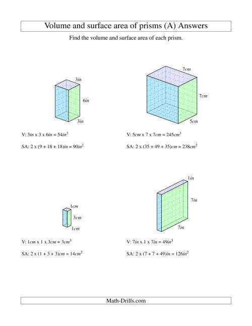 Volume and Surface Area of Rectangular Prisms with Whole Numbers (A) [ 1165 x 900 Pixel ]