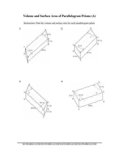 Volume and Surface Area of Parallelogram Prisms (A)