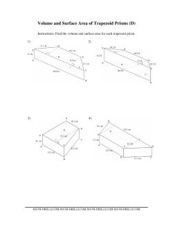 Volume and Surface Area of Trapezoid Prisms (D