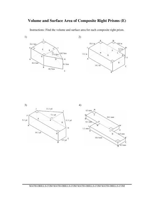 Volume and Surface Area of Composite-Based Prisms (E)