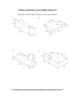Volume and Surface Area of Mixed Right Prisms (G