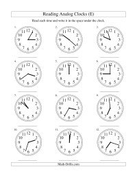Reading Time on an Analog Clock in 1 Minute Intervals (E