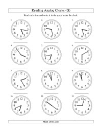 Reading Time on an Analog Clock in 1 Minute Intervals (G