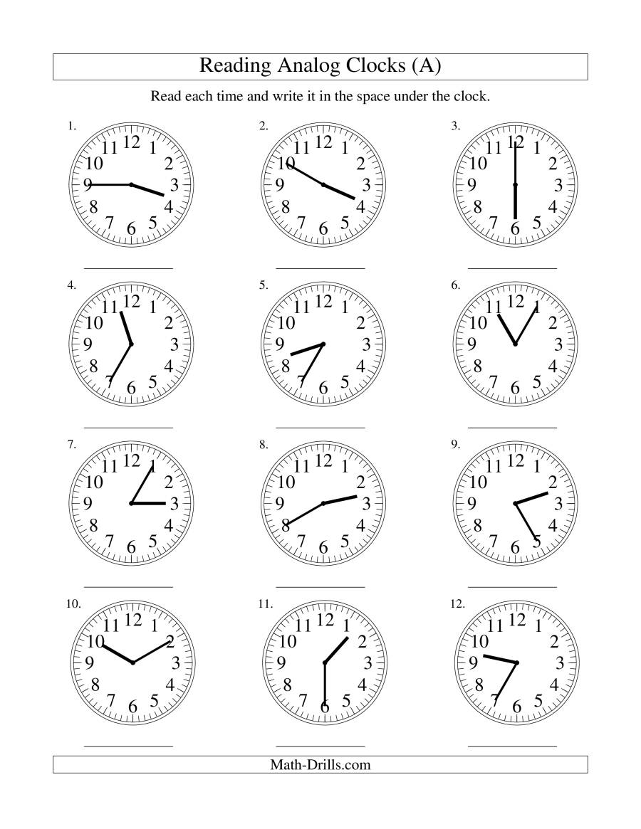 Reading Time on an Analog Clock in 5 Minute Intervals (A)