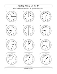 Reading Time on an Analog Clock in 5 Minute Intervals (D