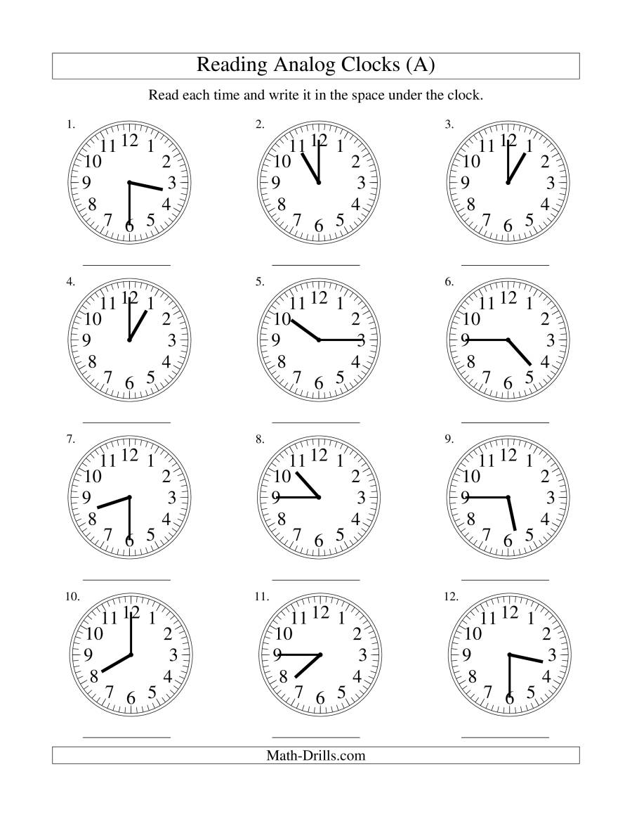 Reading Time on an Analog Clock in 15 Minute Intervals (A)
