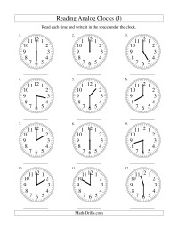 Reading Time on an Analog Clock in 30 Minute Intervals (J