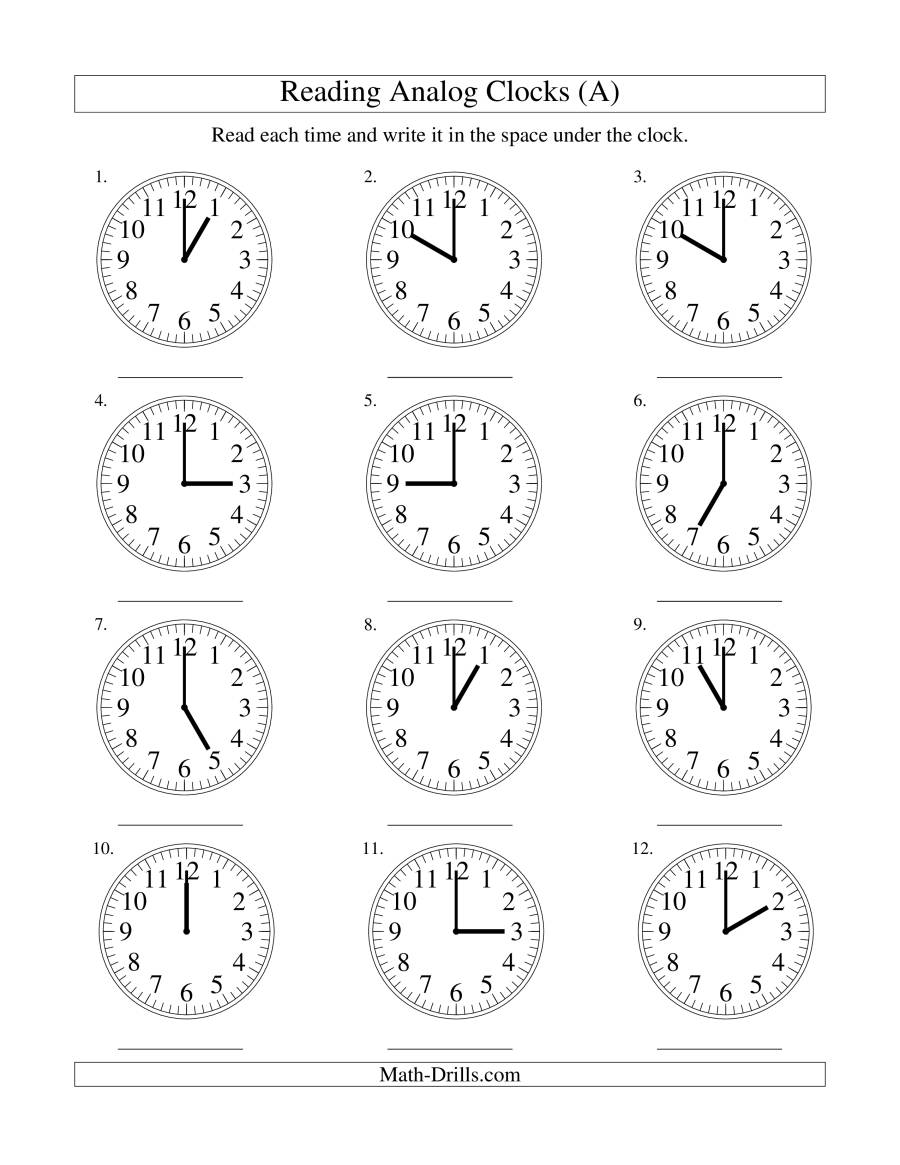 Reading Time on an Analog Clock in One Hour Intervals (A)