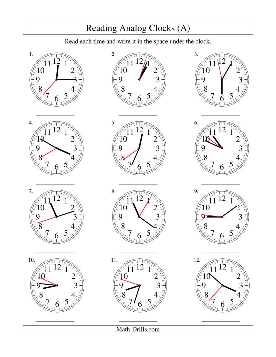 time worksheet: NEW 11 TIME WORKSHEET ANALOGUE