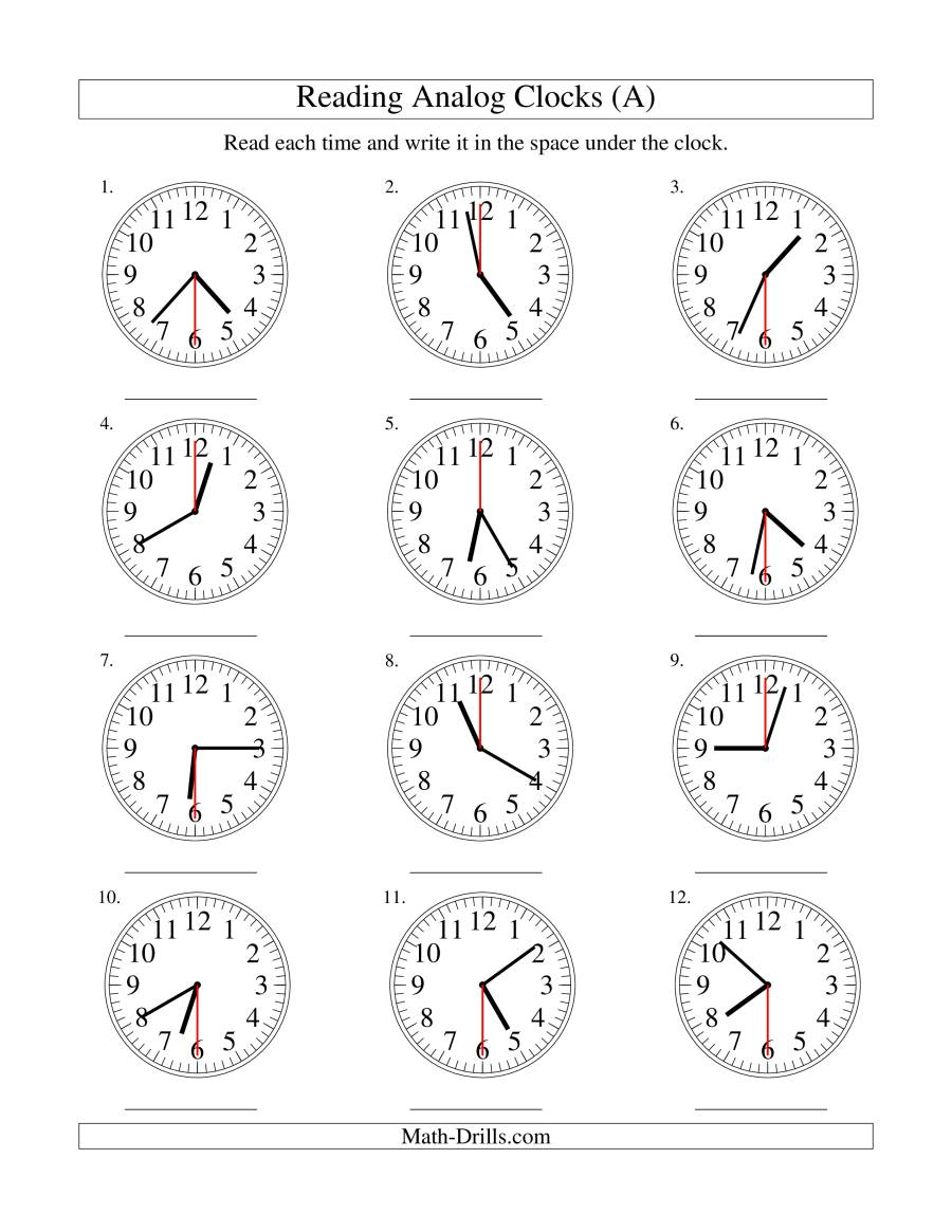 Reading Time on an Analog Clock in 30 Second Intervals (A)
