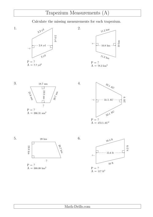 Calculating Bases and Perimeters of Trapeziums (A)