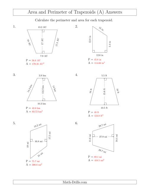 medium resolution of Calculating the Perimeter and Area of Trapezoids (Larger Numbers) (A)