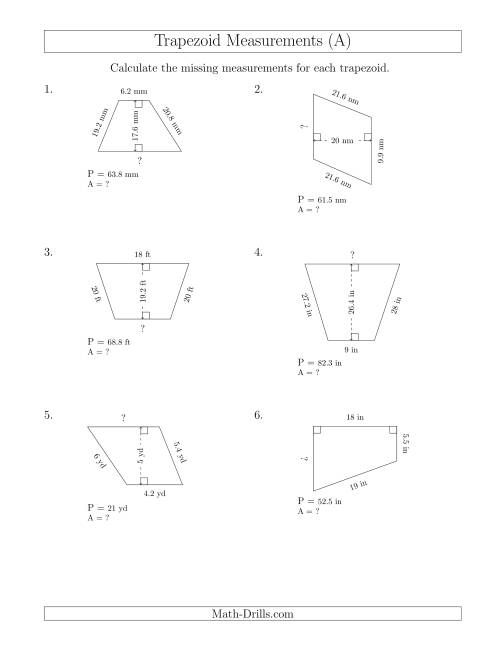 Calculating Bases and Areas of Trapezoids (A)