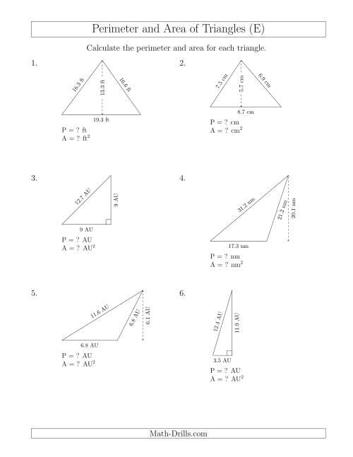 Calculating the Perimeter and Area of Triangles (E)