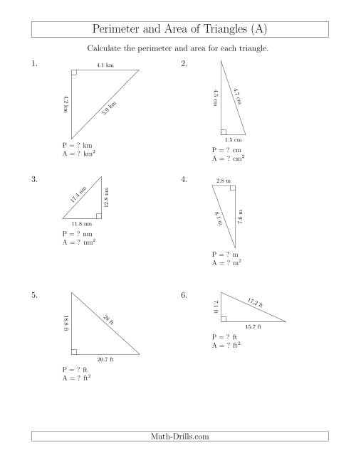 Calculating the Perimeter and Area of Right Triangles