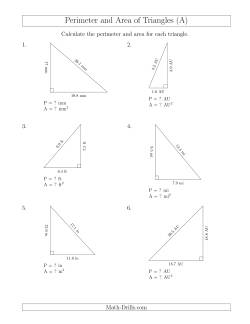 Calculating the Perimeter and Area of Right Triangles (All