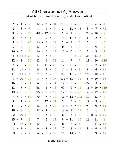100 Horizontal Mixed Operations Questions (Facts 1 to 12) (A) [ 1165 x 900 Pixel ]