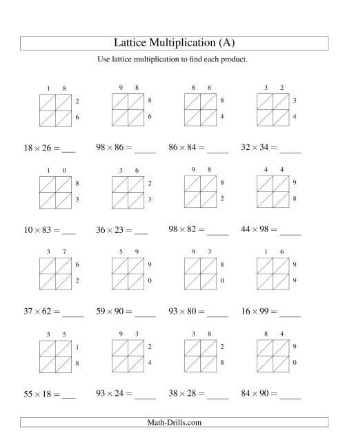 medium resolution of 2-Digit by 2-Digit Lattice Multiplication (A)