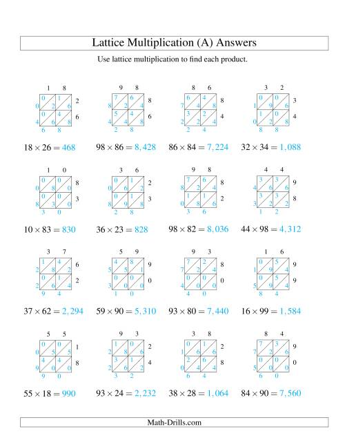 hight resolution of 2-Digit by 2-Digit Lattice Multiplication (A)