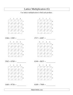 4-Digit by 4-Digit Lattice Multiplication (G) Long