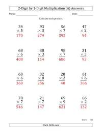 Multiplying 2-Digit by 1-Digit Numbers (Large Print) (A)