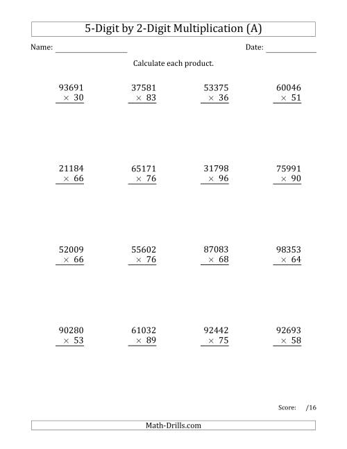 hight resolution of Multiplying 5-Digit by 2-Digit Numbers (A)