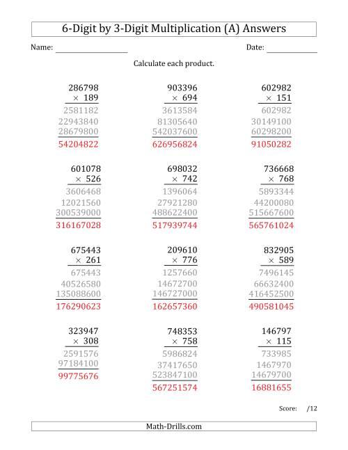 Multiplying 6-Digit by 3-Digit Numbers (All)