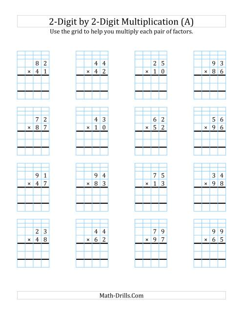 hight resolution of 2-Digit by 2-Digit Multiplication with Grid Support (A)