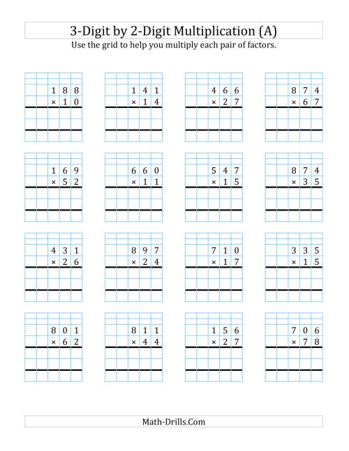 hight resolution of 3-Digit by 2-Digit Multiplication with Grid Support (A)