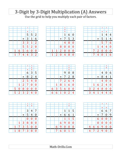 3 Digit By 3 Digit Multiplic Ti With Grid Supp T