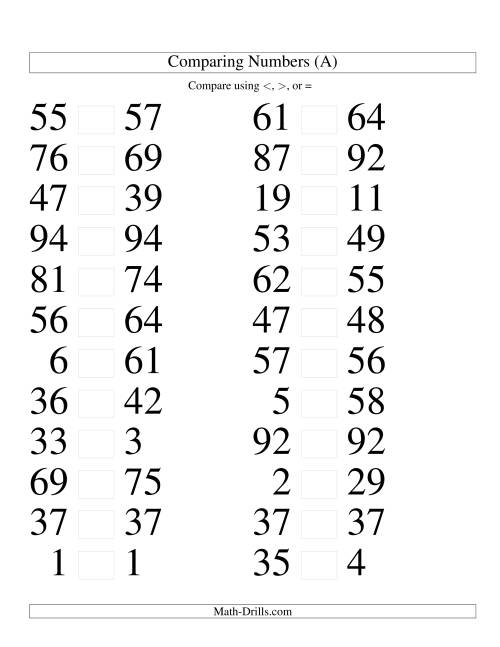 comparing numbers coloring pages