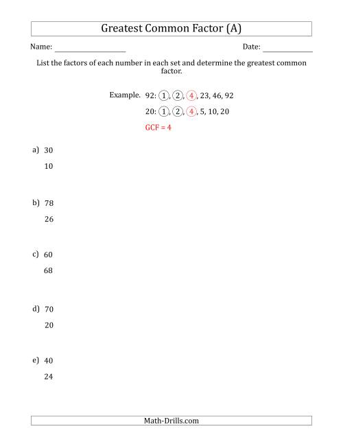 small resolution of Determining Greatest Common Factors of Sets of Two Numbers from 4 to 100 (A)