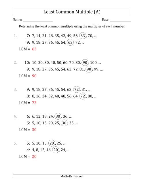 hight resolution of Least Common Multiple from Multiples of Numbers to 10 (LCM Not Numbers) (A)