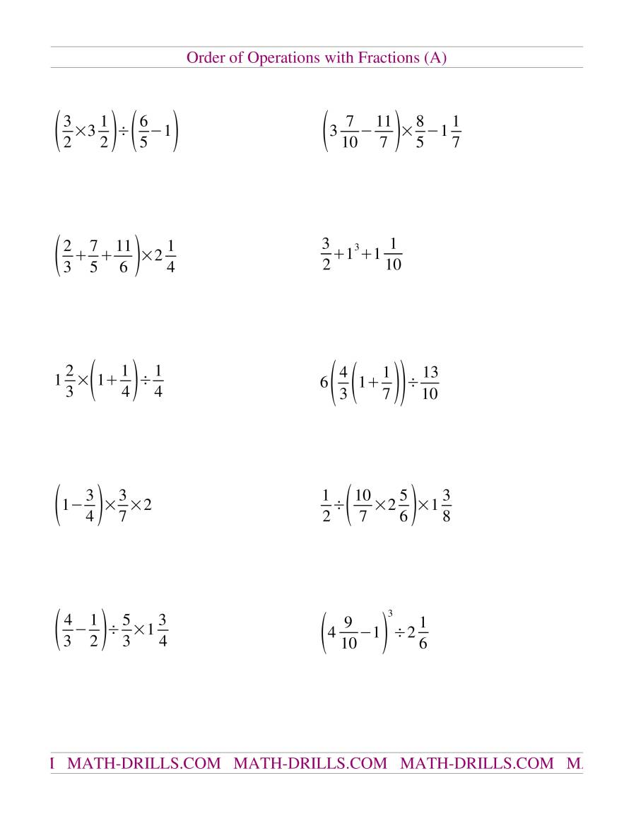 Old Order of Operations Worksheet (A)