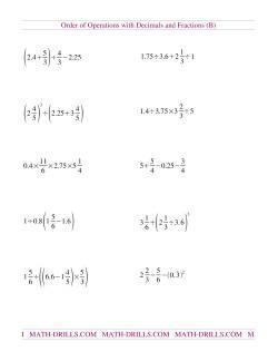 Decimals and Fractions Mixed (B)