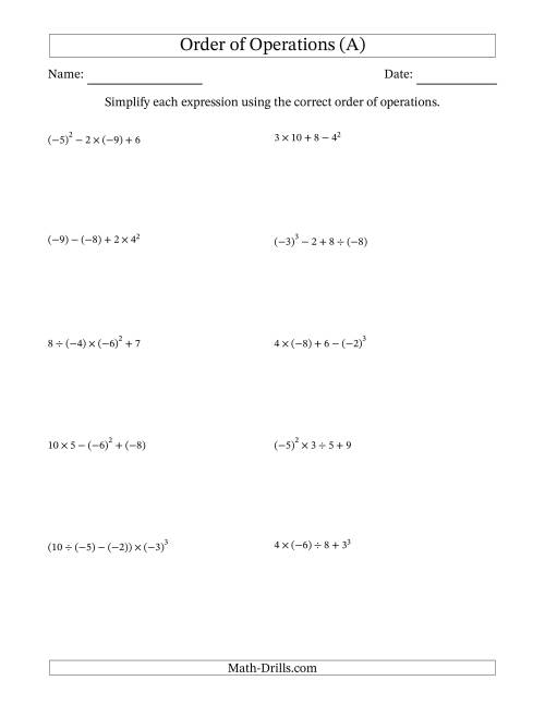 hight resolution of Order of Operations with Negative and Positive Integers (Four Steps) (A)